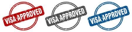 visa approved stamp. visa approved sign. visa approved label set