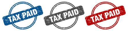 tax paid stamp. tax paid sign. tax paid label set