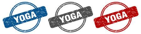 yoga stamp. yoga sign. yoga label set