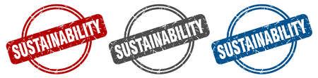 sustainability stamp. sustainability sign. sustainability label set Ilustracja