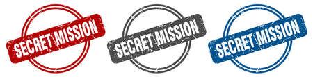 secret mission stamp. secret mission sign. secret mission label set