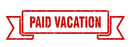 paid vacation ribbon sign. paid vacation vintage retro band.  イラスト・ベクター素材