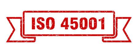 iso 45001 ribbon sign. iso 45001 vintage retro band. Illustration