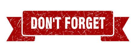 don't forget ribbon sign. don't forget vintage retro band. Illustration