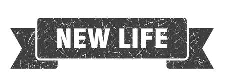 new life ribbon sign. new life vintage retro band.