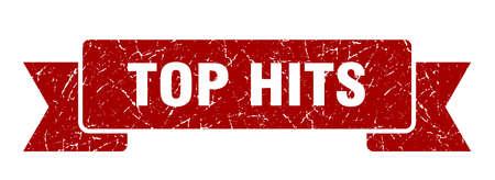 top hits ribbon sign. top hits vintage retro band.