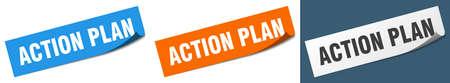 action plan paper peeler sign set. action plan sticker  イラスト・ベクター素材