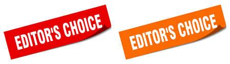 editor's choice paper peeler sign set. editor's choice sticker Stock Illustratie