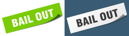 bail out paper peeler sign set. bail out sticker Vectores