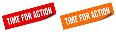 time for action paper peeler sign set. time for action sticker