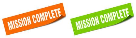 mission complete paper peeler sign set. mission complete sticker
