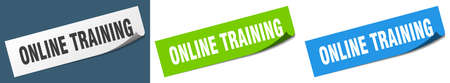 online training paper peeler sign set. online training sticker Vectores