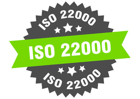 iso 22000 round isolated ribbon label. iso 22000 sign