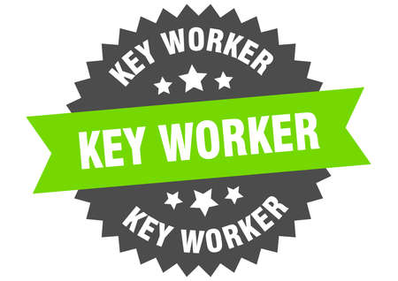 key worker round isolated ribbon label. key worker sign