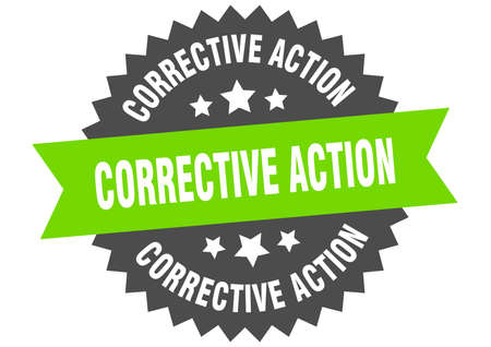 corrective action round isolated ribbon label. corrective action sign