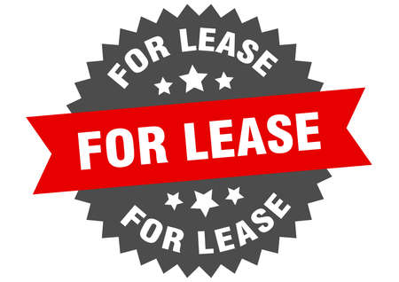 for lease round isolated ribbon label. for lease sign