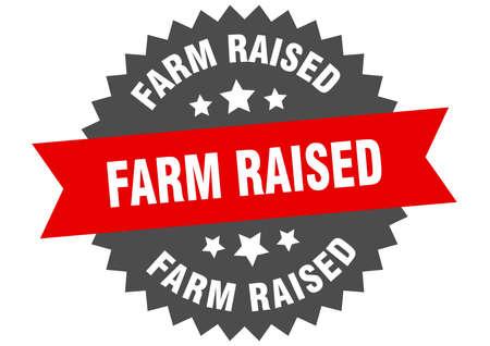 farm raised round isolated ribbon label. farm raised sign