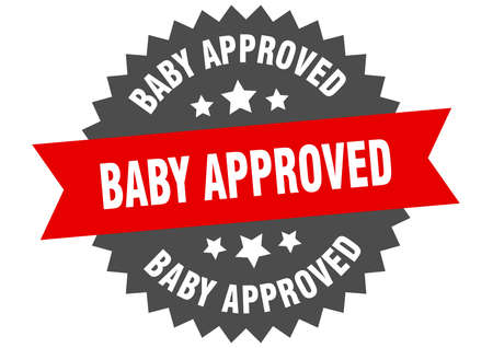 baby approved round isolated ribbon label. baby approved sign