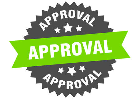 approval round isolated ribbon label. approval sign Ilustração