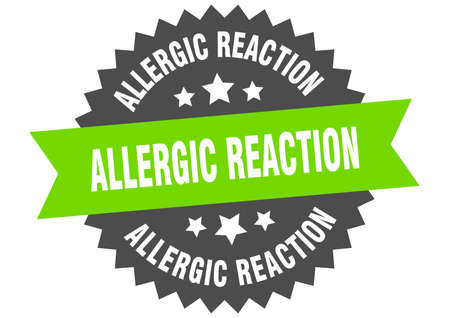 allergic reaction round isolated ribbon label. allergic reaction sign