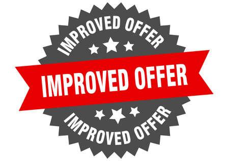 improved offer round isolated ribbon label. improved offer sign Ilustração
