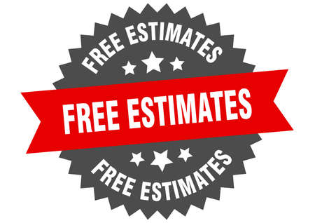 free estimates round isolated ribbon label. free estimates sign