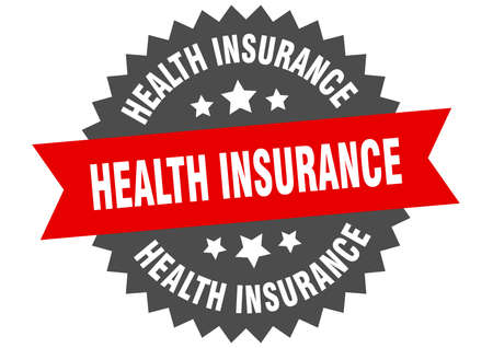 health insurance round isolated ribbon label. health insurance sign