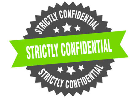 strictly confidential round isolated ribbon label. strictly confidential sign