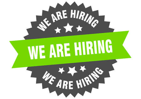 we are hiring round isolated ribbon label. we are hiring sign