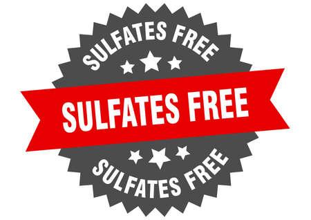 sulfates free round isolated ribbon label. sulfates free sign