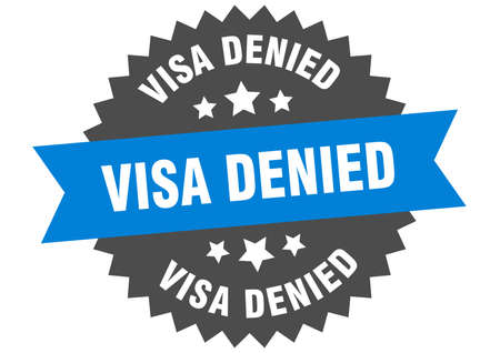 visa denied round isolated ribbon label. visa denied sign