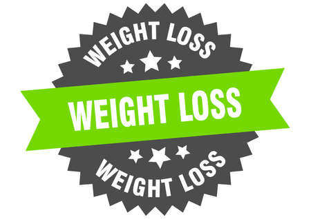 weight loss round isolated ribbon label. weight loss sign Ilustração