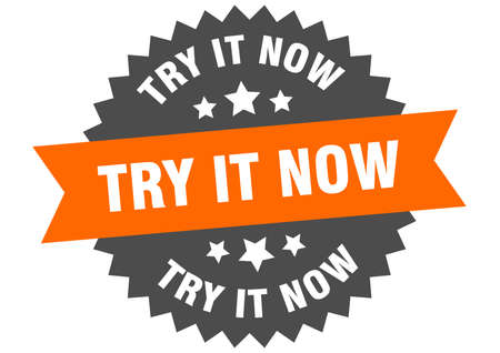 try it now round isolated ribbon label. try it now sign