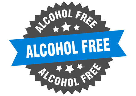 alcohol free round isolated ribbon label. alcohol free sign
