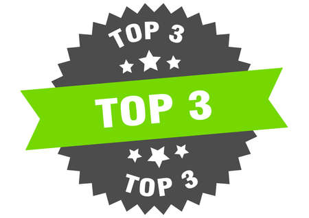 top 3 round isolated ribbon label. top 3 sign