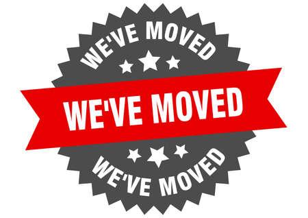 we've moved round isolated ribbon label. we've moved sign Ilustração
