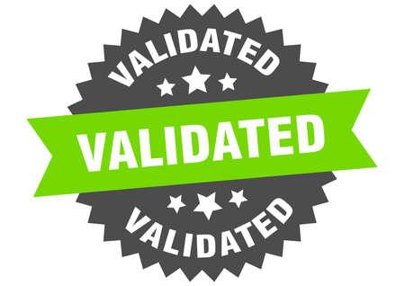 validated round isolated ribbon label. validated sign Ilustração