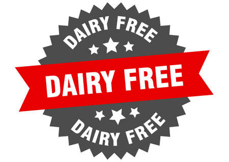 dairy free round isolated ribbon label. dairy free sign