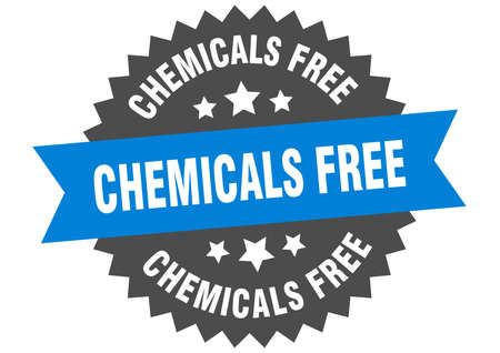 chemicals free round isolated ribbon label. chemicals free sign Ilustração
