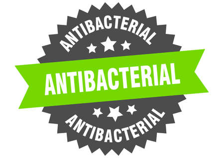 antibacterial round isolated ribbon label. antibacterial sign