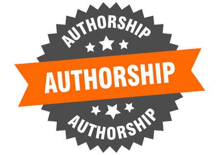 authorship round isolated ribbon label. authorship sign