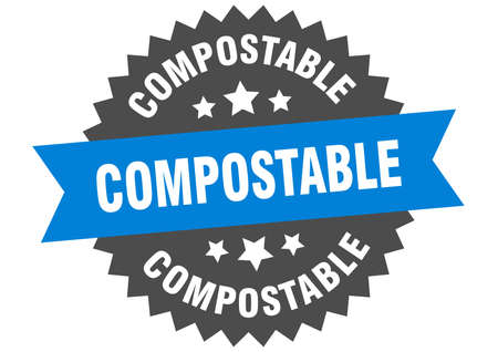 compostable round isolated ribbon label. compostable sign