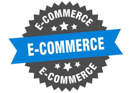 e-commerce round isolated ribbon label. e-commerce sign