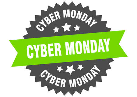cyber monday round isolated ribbon label. cyber monday sign