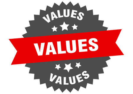 values round isolated ribbon label. values sign