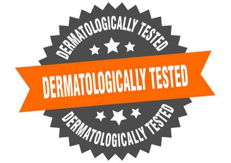 dermatologically tested round isolated ribbon label. dermatologically tested sign