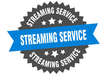 streaming service round isolated ribbon label. streaming service sign