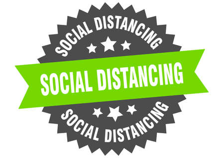 social distancing round isolated ribbon label. social distancing sign