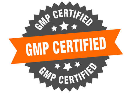 gmp certified round isolated ribbon label. gmp certified sign