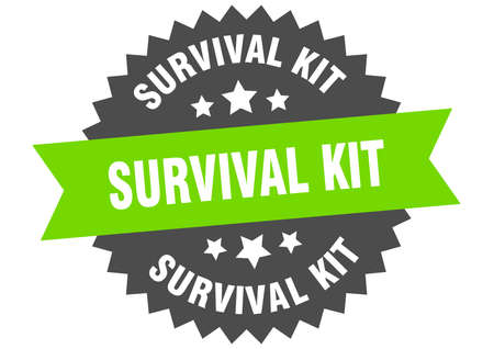survival kit round isolated ribbon label. survival kit sign
